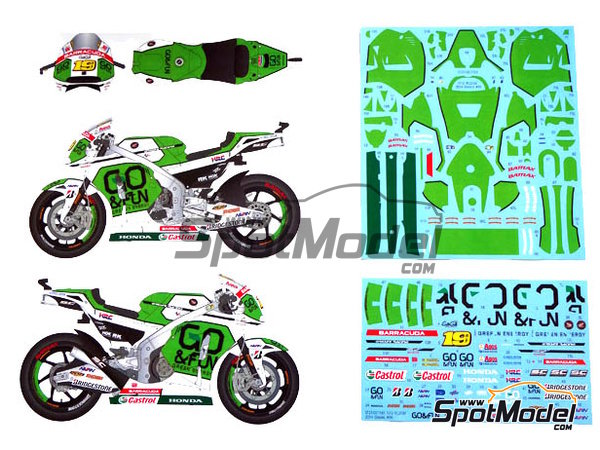 Image 3: Honda RC213V Gresini Racing - Motorcycle World Championship 2014 | Marking / livery in 1/12 scale manufactured by Studio27 (ref. ST27-DC1163)