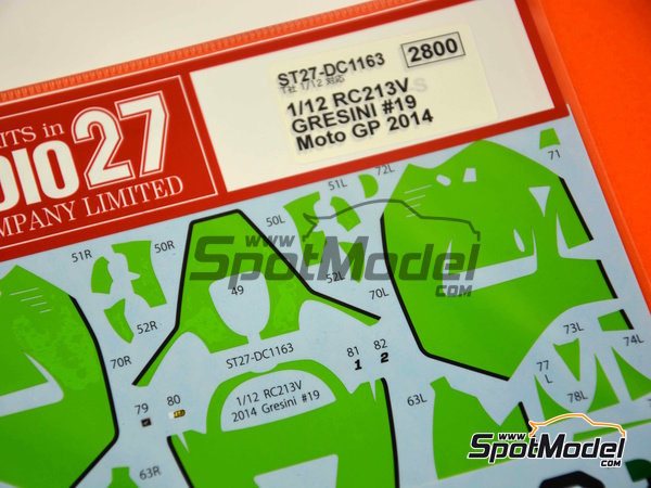 Image 4: Honda RC213V Gresini Racing - Motorcycle World Championship 2014 | Marking / livery in 1/12 scale manufactured by Studio27 (ref. ST27-DC1163)