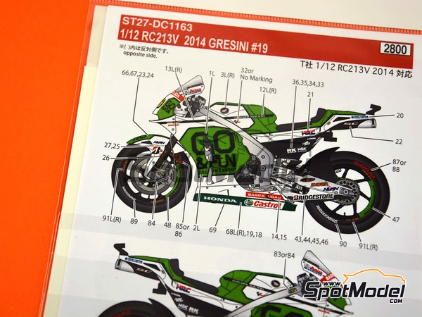 Image 9: Honda RC213V Gresini Racing - Motorcycle World Championship 2014 | Marking / livery in 1/12 scale manufactured by Studio27 (ref. ST27-DC1163)