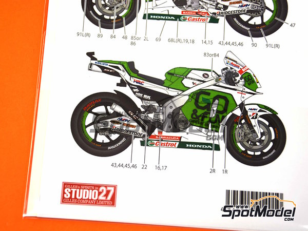 Image 10: Honda RC213V Gresini Racing - Motorcycle World Championship 2014 | Marking / livery in 1/12 scale manufactured by Studio27 (ref. ST27-DC1163)