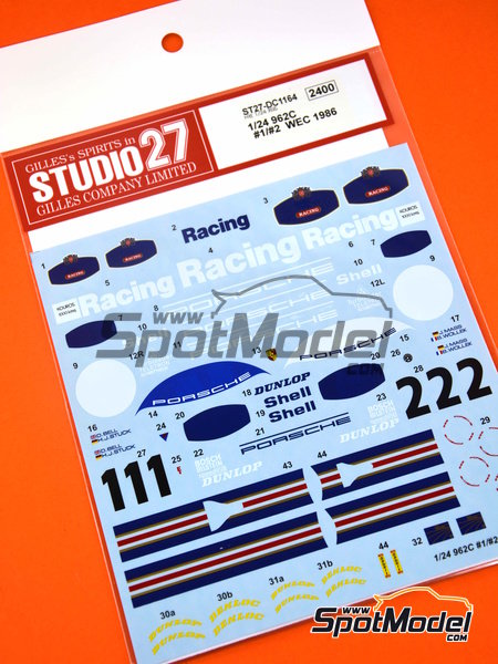 Porsche 962C Rothmans - 1000 Kms Monza, 1000 Kms SPA, 6 Hours Silverstone 1986 | Marking / livery in 1/24 scale manufactured by Studio27 (ref. ST27-DC1164) image