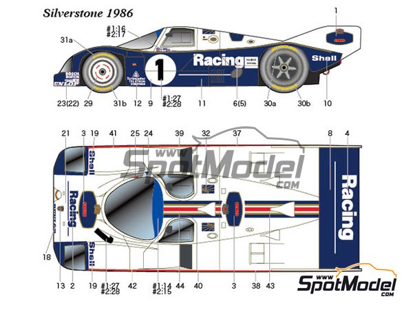 Image 1: Porsche 962C - 1000 Kms Monza, 1000 Kms SPA, 6 Hours Silverstone 1986 | Marking / livery in 1/24 scale manufactured by Studio27 (ref. ST27-DC1164)