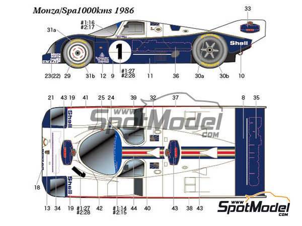 Image 2: Porsche 962C Rothmans - 1000 Kms Monza, 1000 Kms SPA, 6 Hours Silverstone 1986 | Marking / livery in 1/24 scale manufactured by Studio27 (ref. ST27-DC1164)
