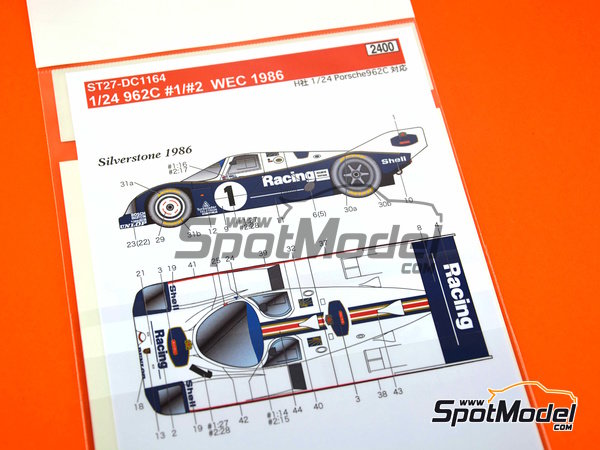 Image 7: Porsche 962C Rothmans - 1000 Kms Monza, 1000 Kms SPA, 6 Hours Silverstone 1986 | Marking / livery in 1/24 scale manufactured by Studio27 (ref. ST27-DC1164)