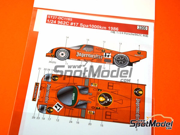 Image 3: Porsche 962C - 1000 Kms SPA 1986 | Marking in 1/24 scale manufactured by Studio27 (ref. ST27-DC1165)