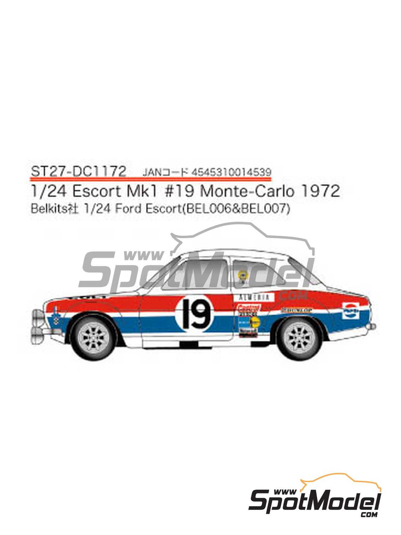 Ford Escort RS1600 Mk I - Montecarlo Rally 1972 | Marking in 1/24 scale manufactured by Studio27 (ref. ST27-DC1172) image