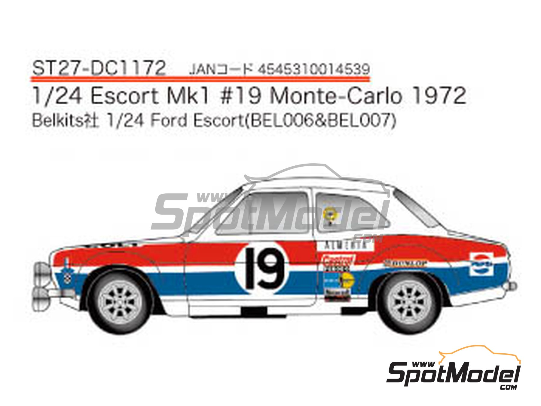 Image 1: Ford Escort RS1600 Mk I - Montecarlo Rally 1972 | Marking in 1/24 scale manufactured by Studio27 (ref. ST27-DC1172)
