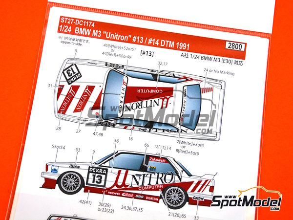 Image 2: BMW M3 E30 Unitron Computer - DTM 1991 | Marking / livery in 1/24 scale manufactured by Studio27 (ref. ST27-DC1174)
