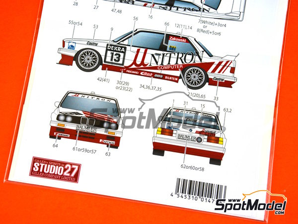 Image 3: BMW M3 E30 Unitron Computer - DTM 1991 | Marking / livery in 1/24 scale manufactured by Studio27 (ref. ST27-DC1174)