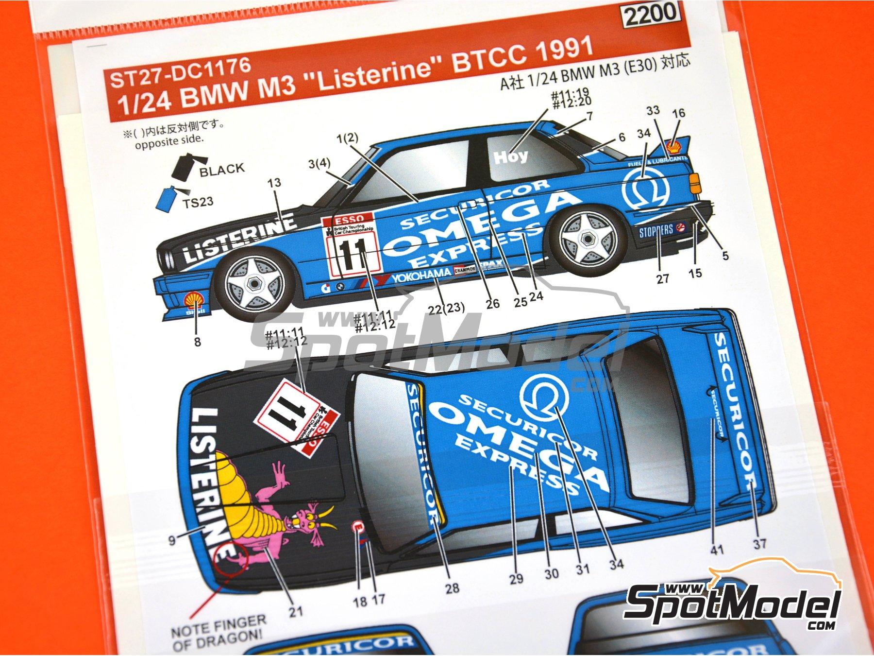 Image 3: BMW M3 E30 Team Listerine - Campeonato Inglés de Turismos - BTCC 1991 | Decoración en escala1/24 fabricado por Studio27 (ref.ST27-DC1176)