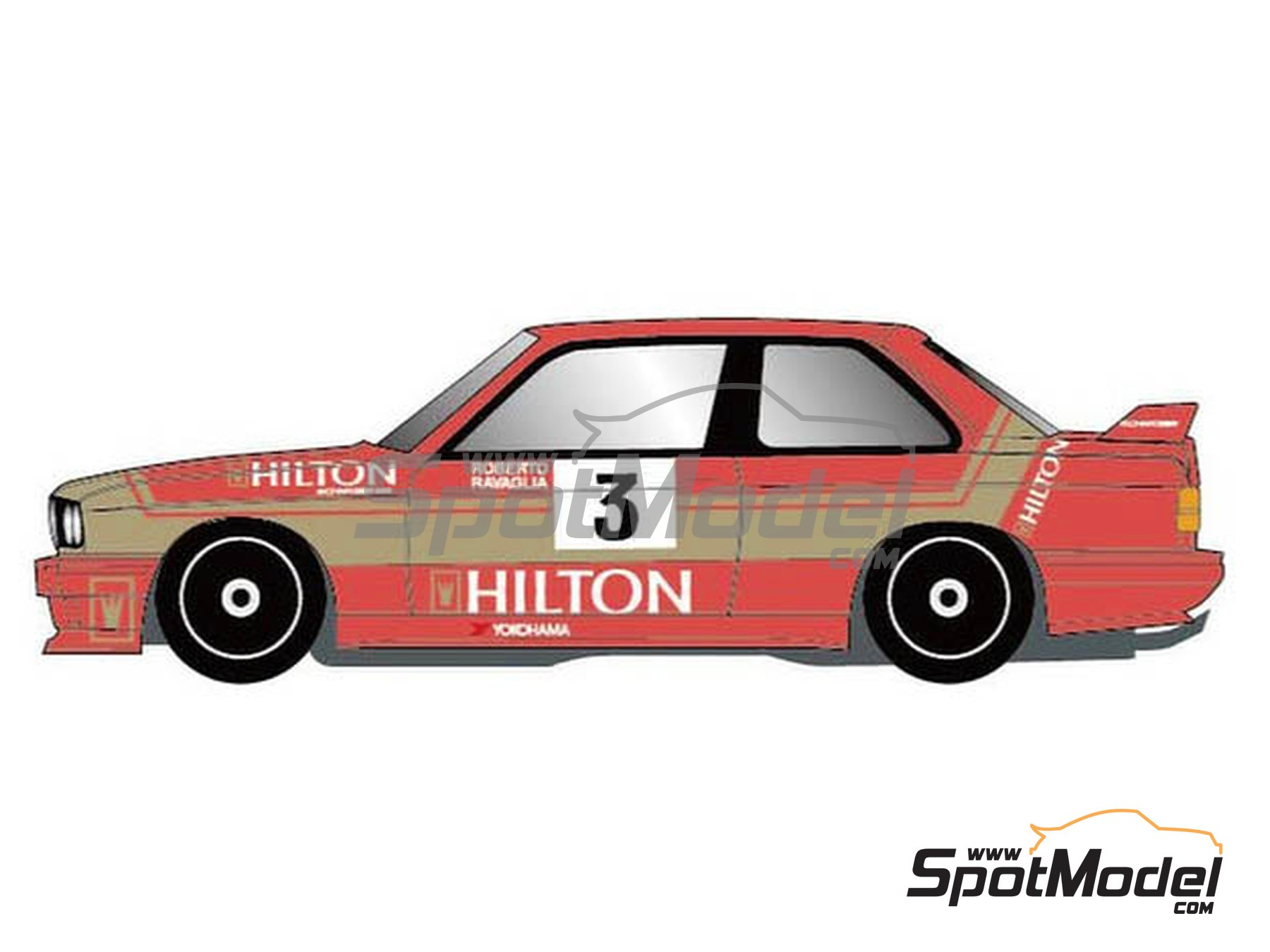 Image 1: BMW M3 E30 Hilton - Macau Grand Prix 1987 | Marking / livery in 1/24 scale manufactured by Studio27 (ref. ST27-DC1177)
