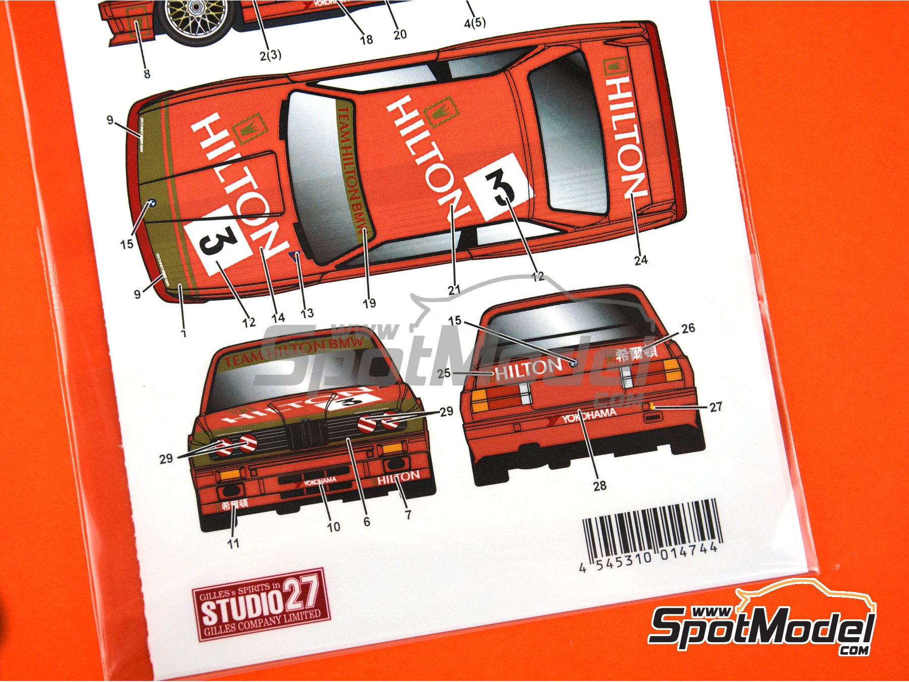 Image 3: BMW M3 E30 Hilton - Macau Grand Prix 1987 | Marking / livery in 1/24 scale manufactured by Studio27 (ref. ST27-DC1177)