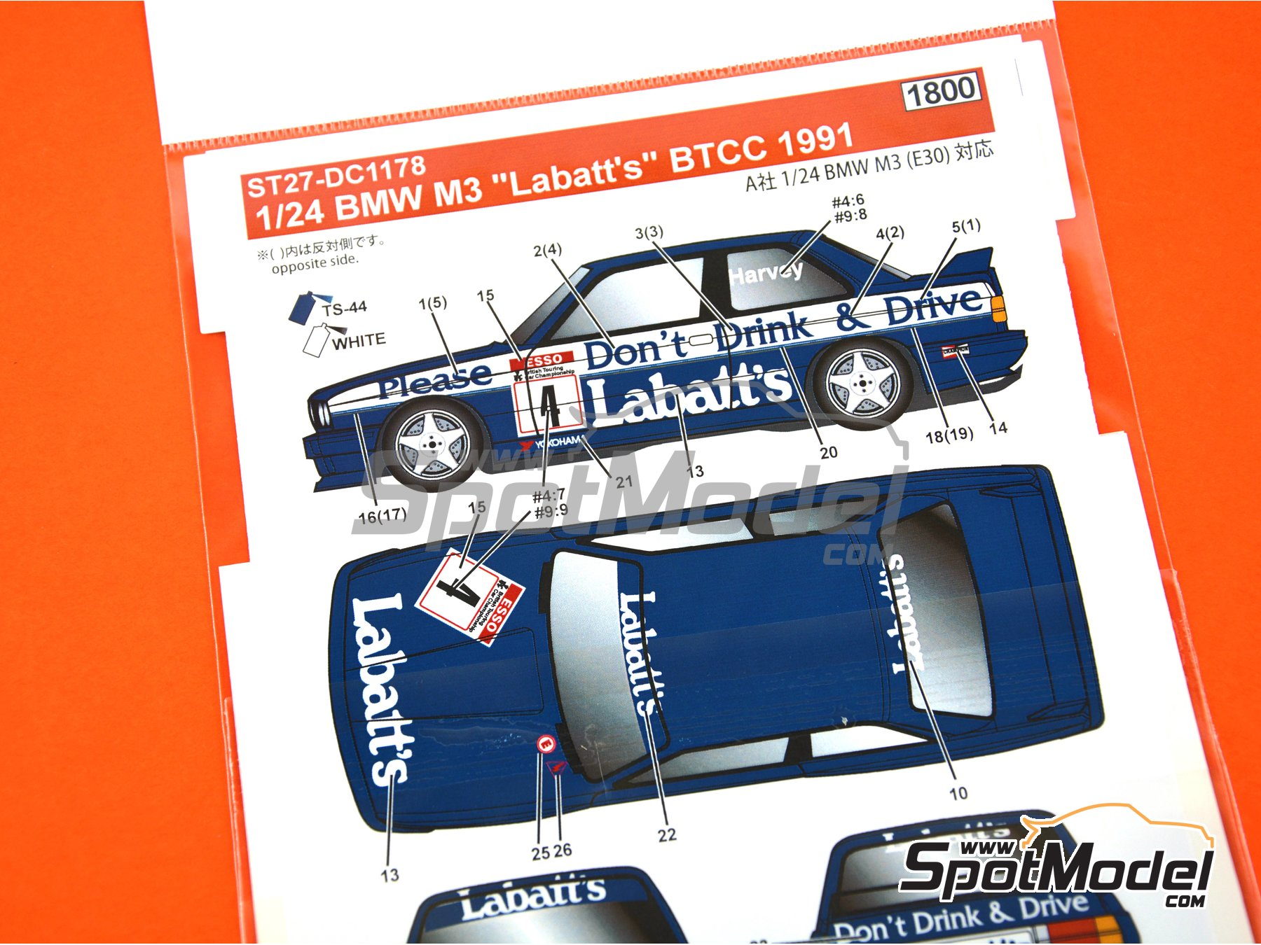 Image 2: BMW M3 E30 Labatt's - British Touring Car Championship - BTCC 1991 | Marking / livery in 1/24 scale manufactured by Studio27 (ref. ST27-DC1178)