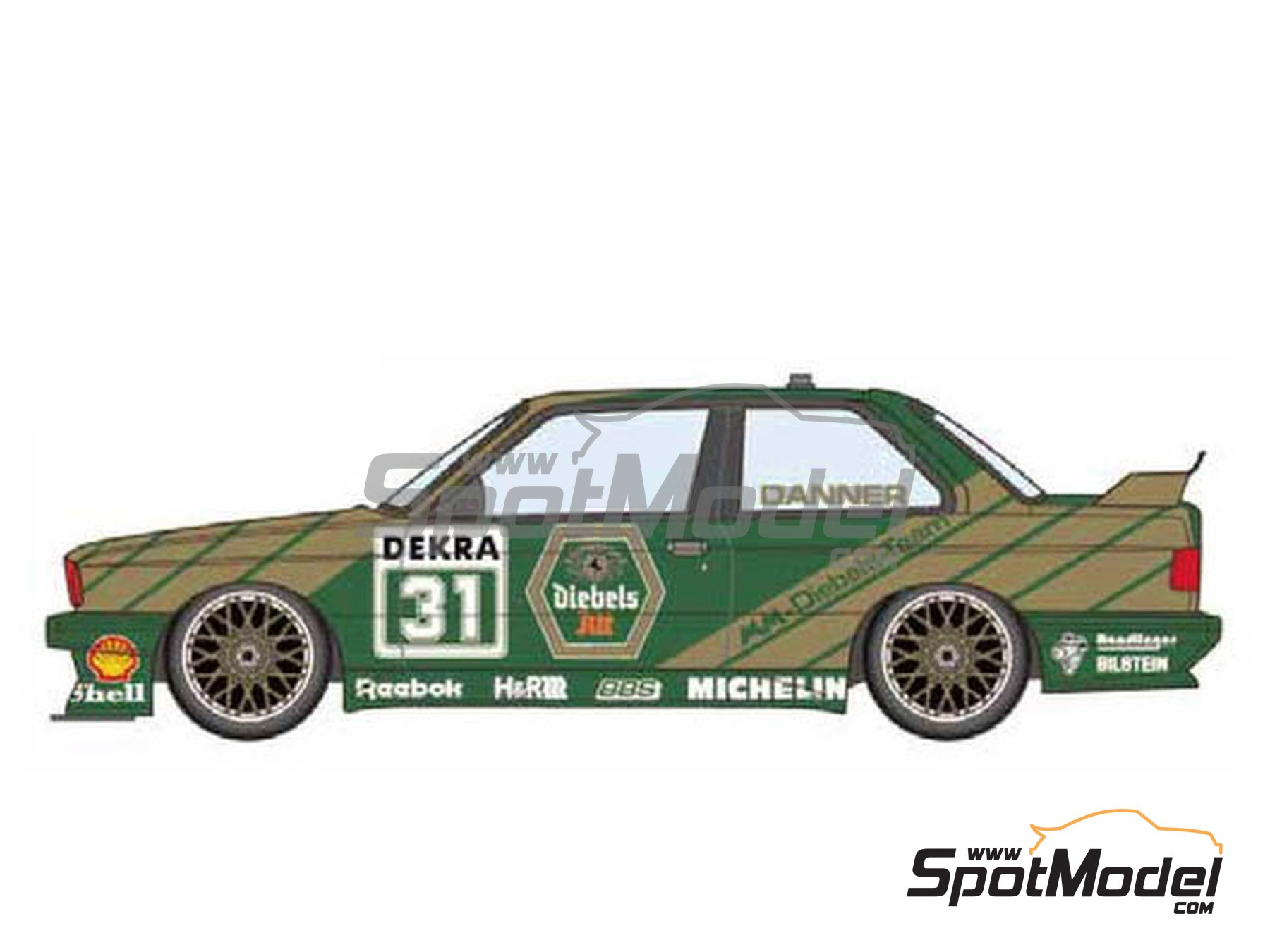 Image 1: BMW M3 E30 MM-Diebels Team - DTM 1991 | Decoración en escala 1/24 fabricado por Studio27 (ref. ST27-DC1179)