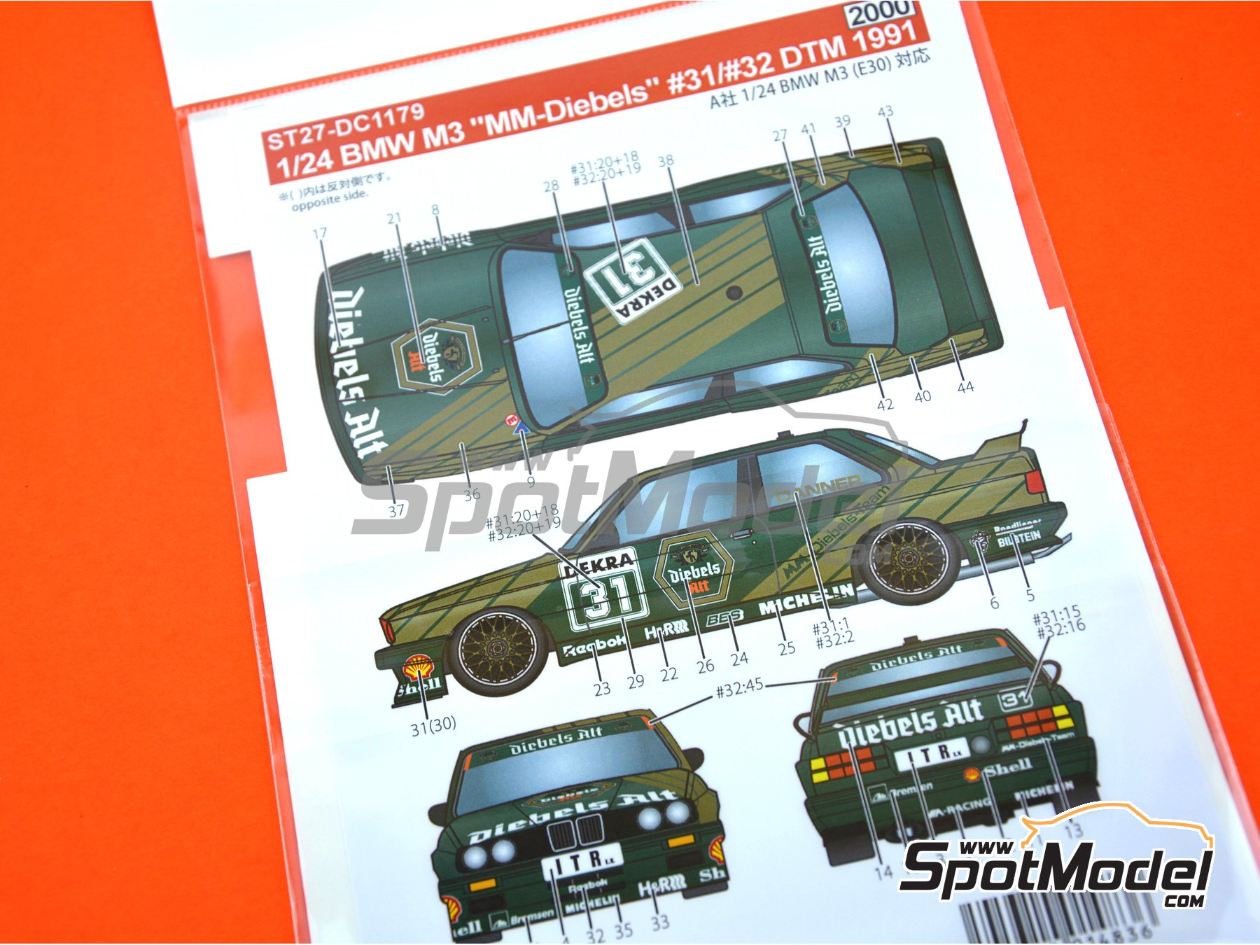 Image 2: BMW M3 E30 MM-Diebels Team - DTM 1991 | Decoración en escala 1/24 fabricado por Studio27 (ref. ST27-DC1179)