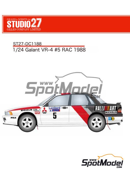 Mitsubishi Galant VR-4 Ralli Art - Great Britain RAC Rally 1988 | Marking / livery in 1/24 scale manufactured by Studio27 (ref. ST27-DC1188) image