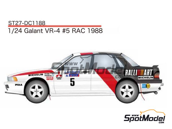 Image 1: Mitsubishi Galant VR-4 Ralli Art - Great Britain RAC Rally 1988 | Marking / livery in 1/24 scale manufactured by Studio27 (ref. ST27-DC1188)