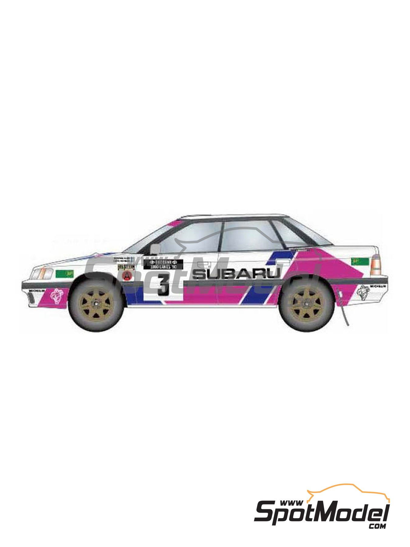 Subaru Legacy RS Subaru Technica International - Rally de los 1000 Lagos Finlandia 1990 | Decoración en escala 1/24 fabricado por Studio27 (ref. ST27-DC1189) image