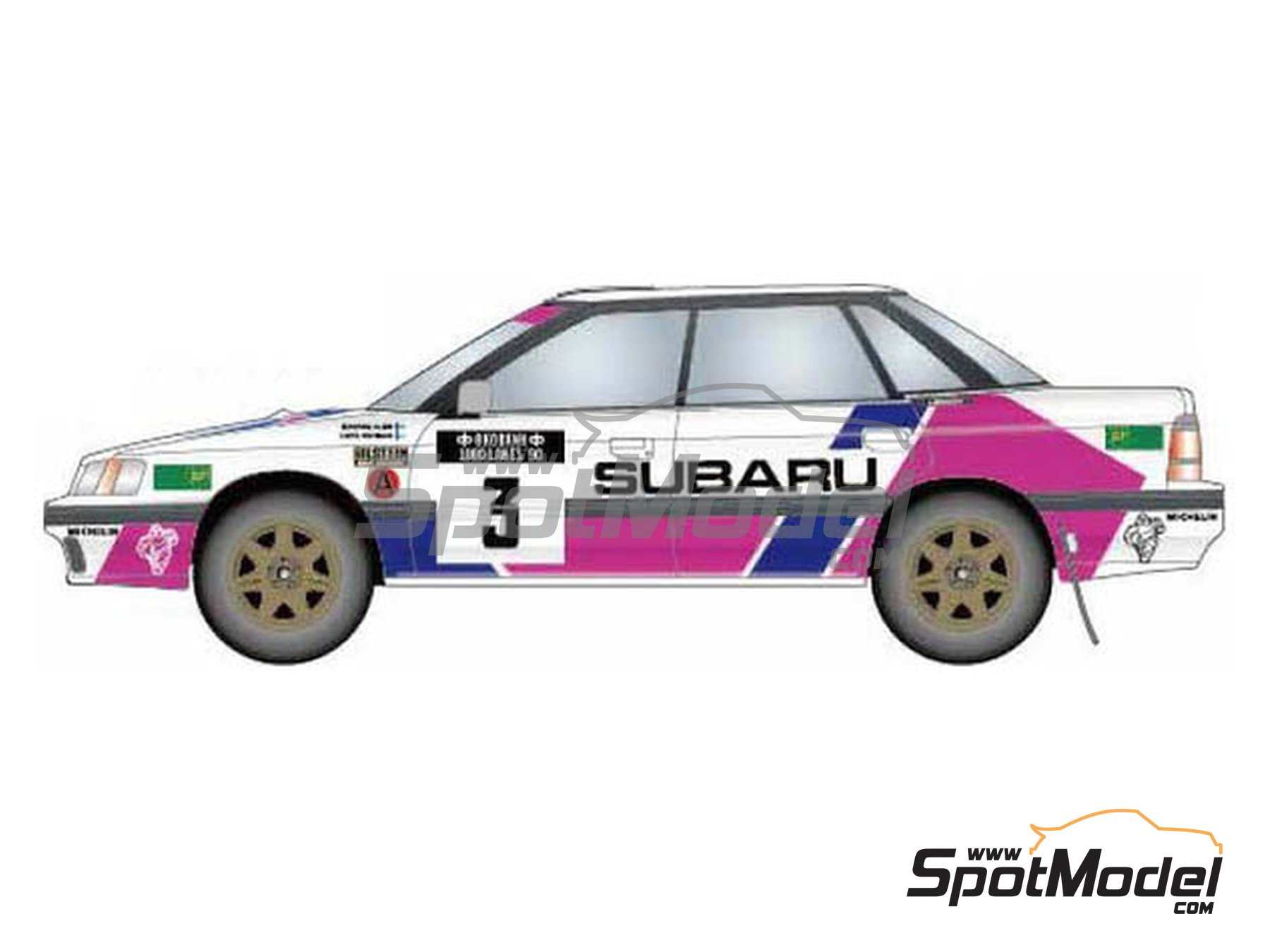 Image 1: Subaru Legacy RS Subaru Technica International - Rally de los 1000 Lagos Finlandia 1990 | Decoración en escala 1/24 fabricado por Studio27 (ref. ST27-DC1189)
