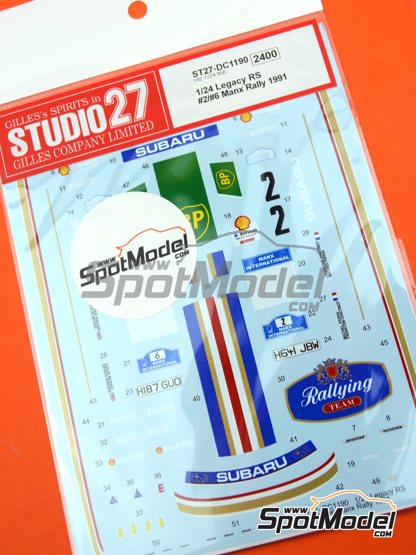 Subaru Legacy RS - Rally Internacional de Manx 1991 | Decoración en escala1/24 fabricado por Studio27 (ref.ST27-DC1190) image