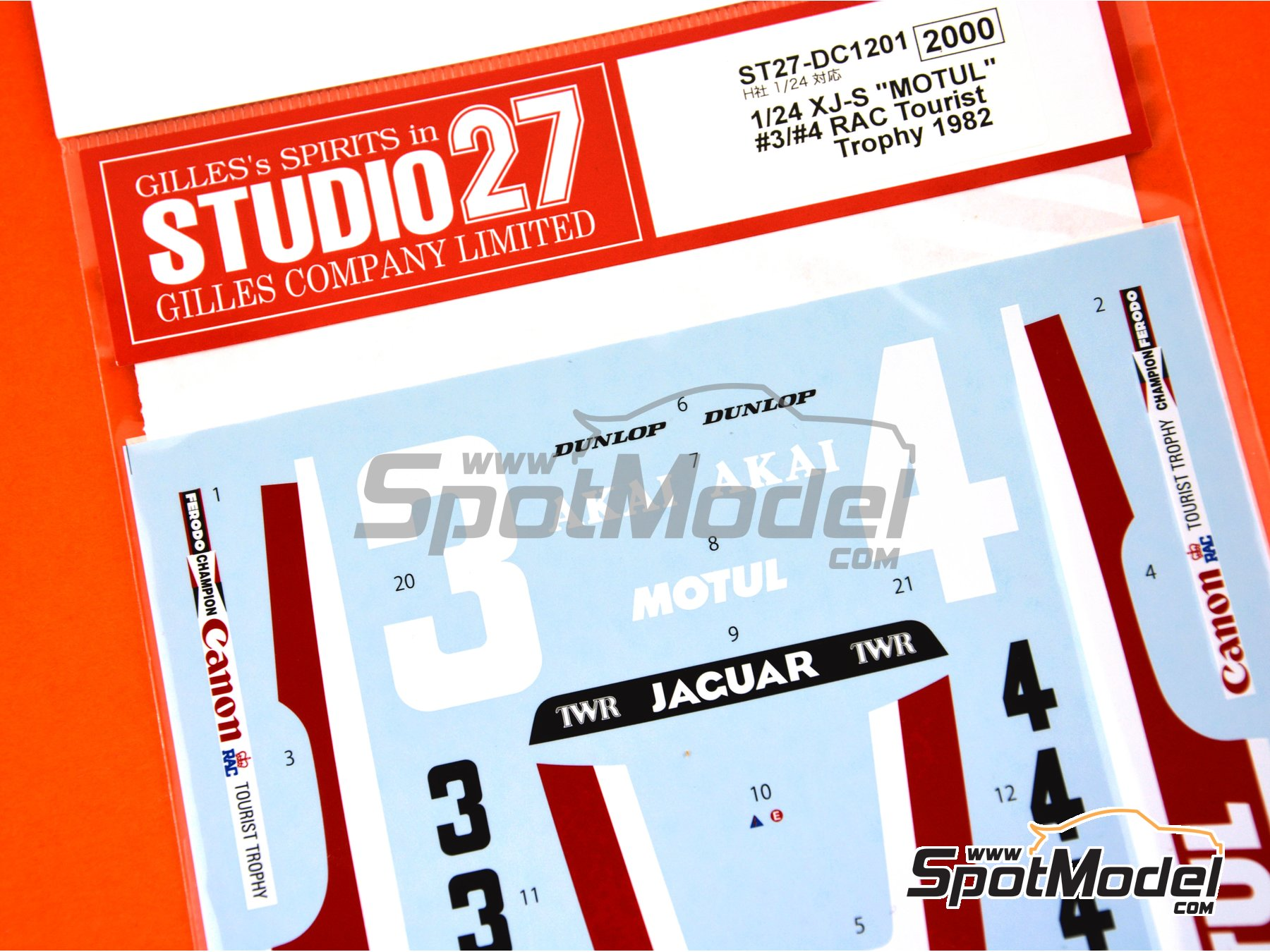 Image 6: Jaguar XJ-S Motul Akai - RAC Tourist Trophy 1982 | Marking / livery in 1/24 scale manufactured by Studio27 (ref. ST27-DC1201)