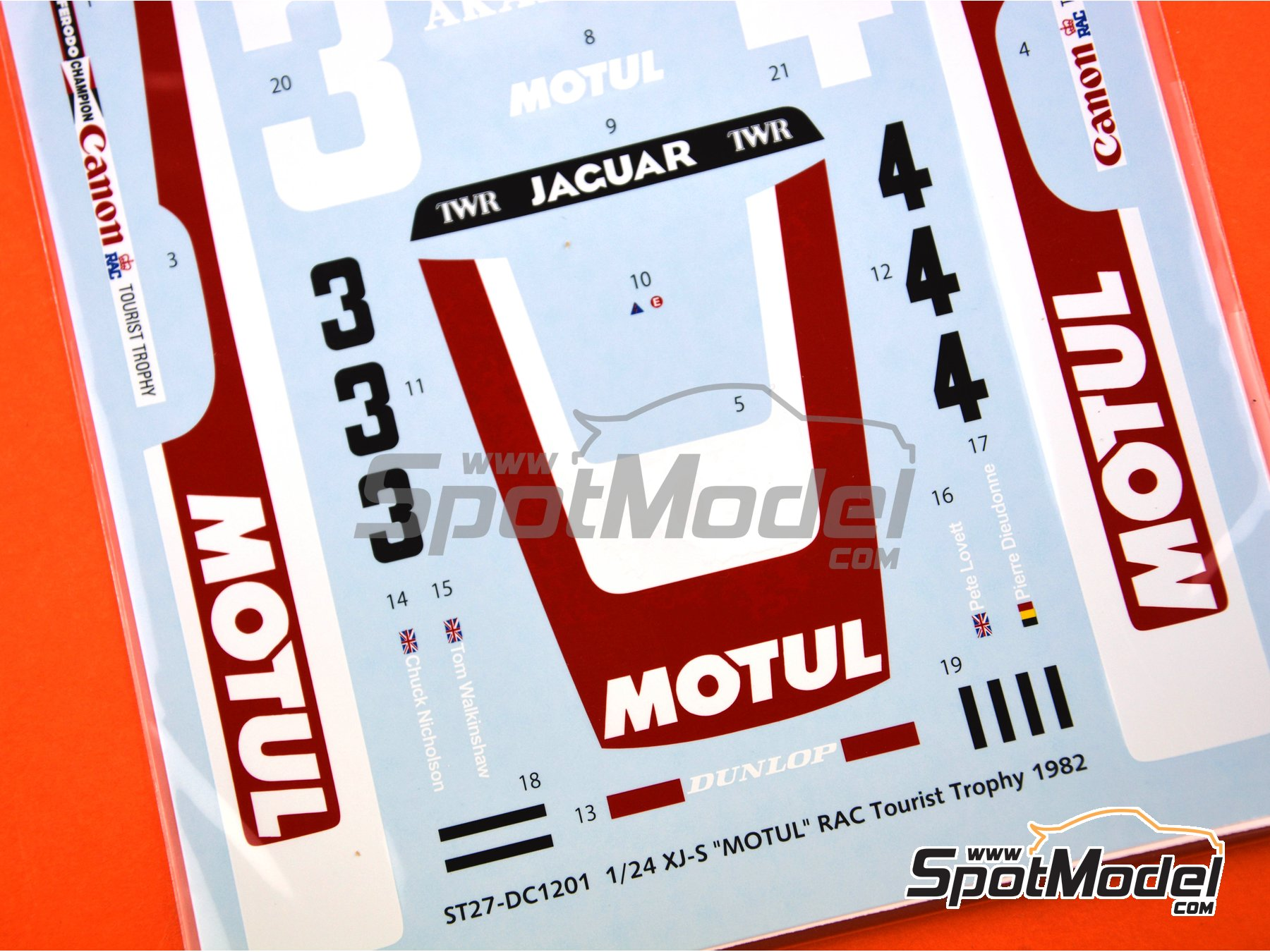 Image 7: Jaguar XJ-S Motul Akai - RAC Tourist Trophy 1982 | Marking / livery in 1/24 scale manufactured by Studio27 (ref. ST27-DC1201)