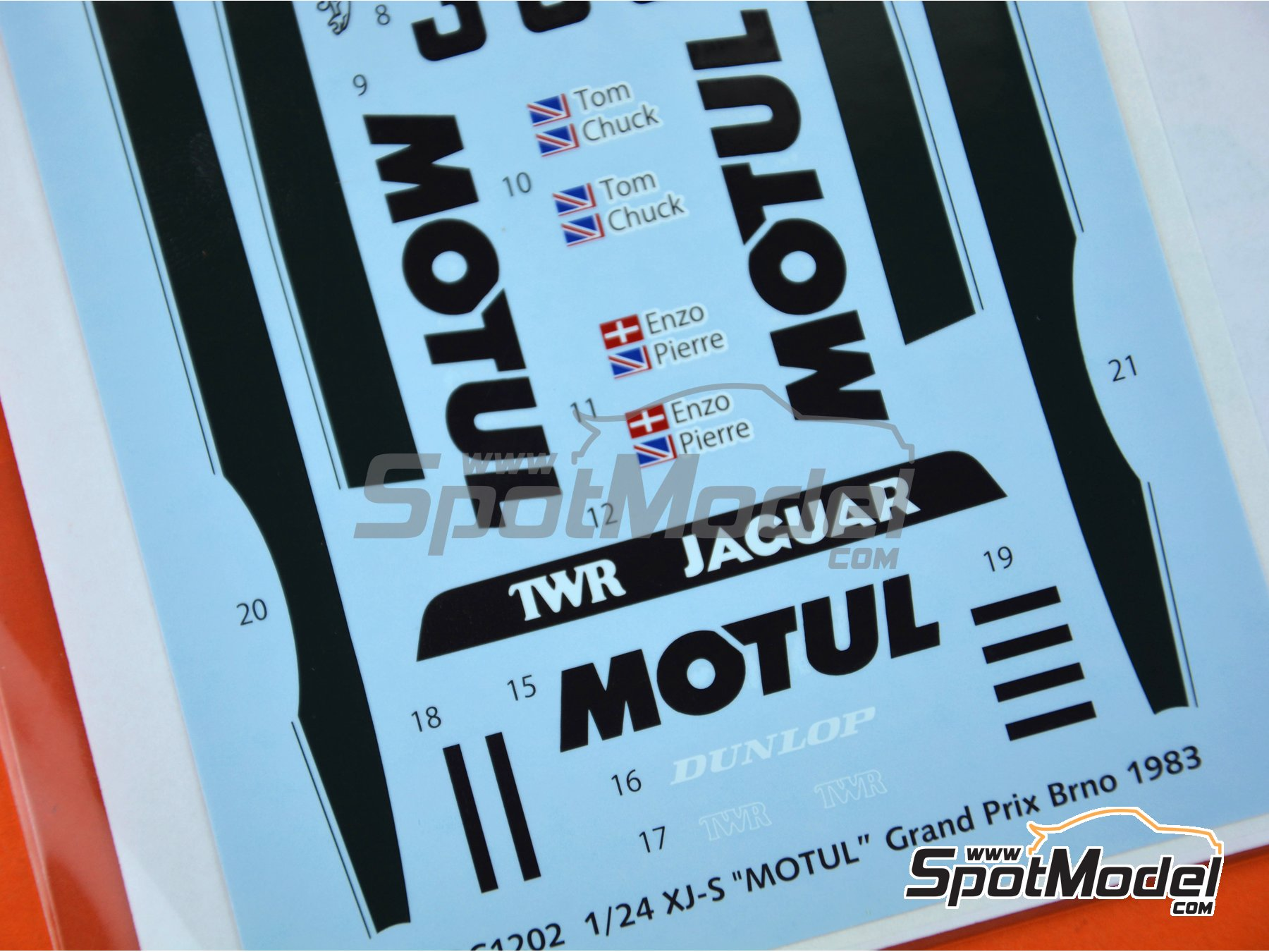 Image 5: Jaguar XJ-S Motul TWR Jaguar Racing - Brno Formula 1 Grand Prix 1983 | Marking / livery in 1/24 scale manufactured by Studio27 (ref. ST27-DC1202)