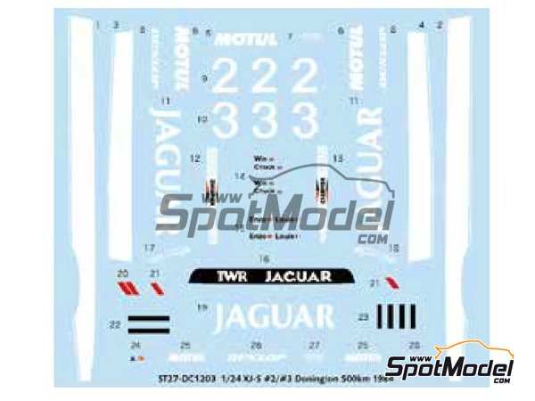 Image 2: Jaguar XJ-S - Donington 500 Kilometres 1984 | Marking / livery in 1/24 scale manufactured by Studio27 (ref. ST27-DC1203)