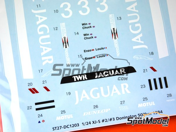 Image 4: Jaguar XJ-S - Donington 500 Kilometres 1984 | Marking / livery in 1/24 scale manufactured by Studio27 (ref.ST27-DC1203)
