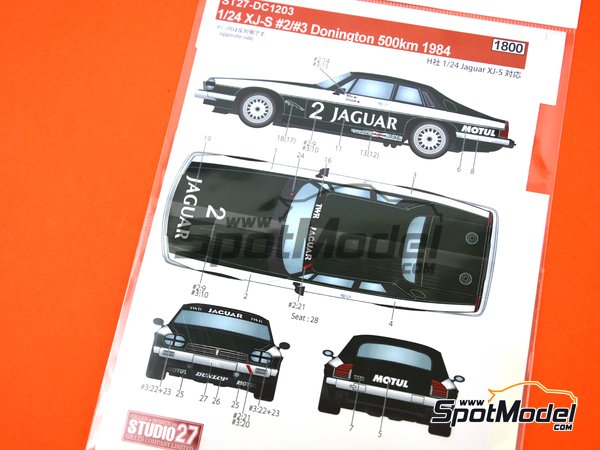 Image 6: Jaguar XJ-S - Donington 500 Kilometres 1984 | Marking / livery in 1/24 scale manufactured by Studio27 (ref.ST27-DC1203)