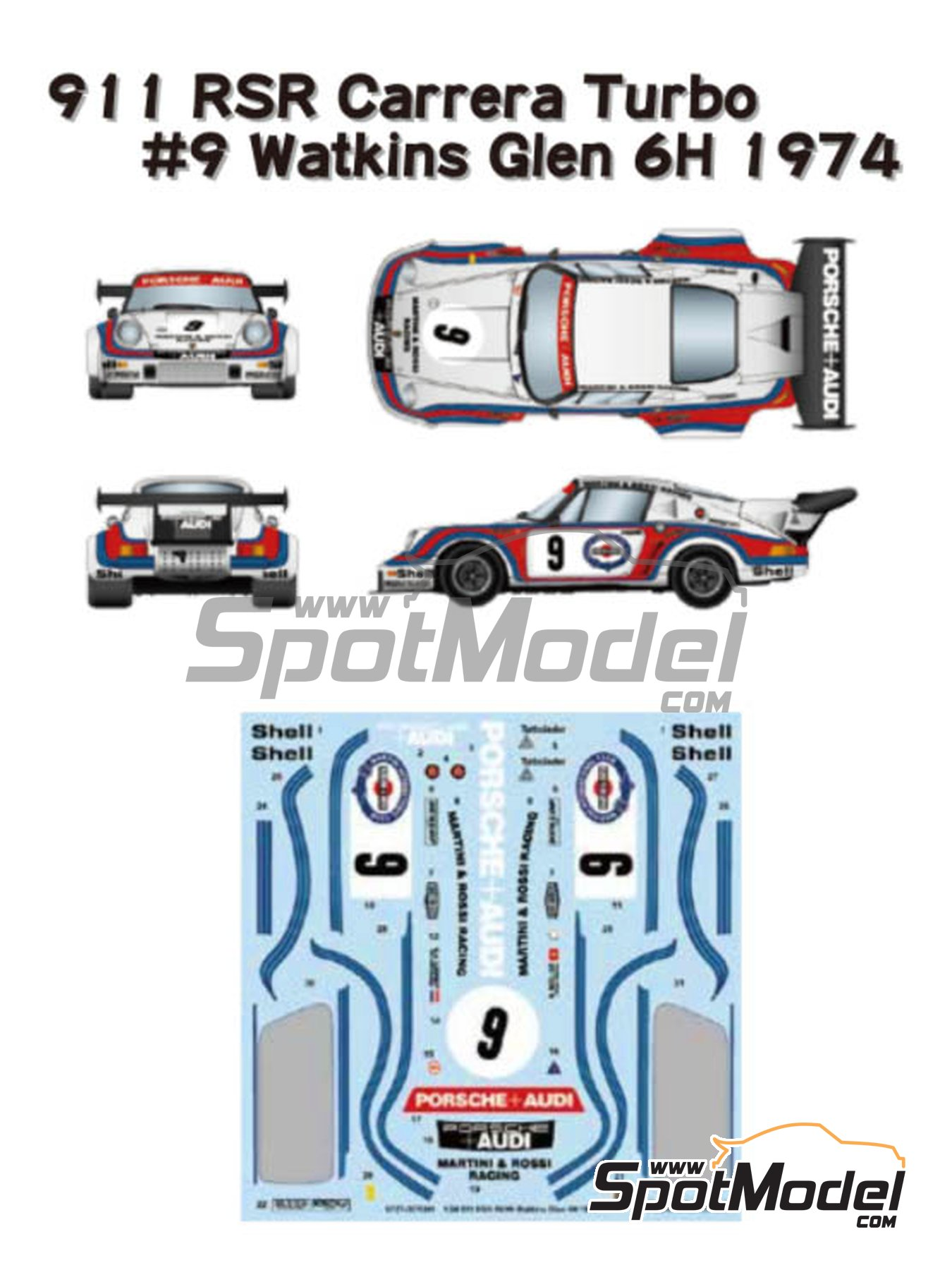 Porsche 911 Carrera RSR Turbo Martini Rossi Porsche Audi - Watkins Glen 6 Hours 1974 | Marking / livery in 1/24 scale manufactured by Studio27 (ref. ST27-DC1205) image