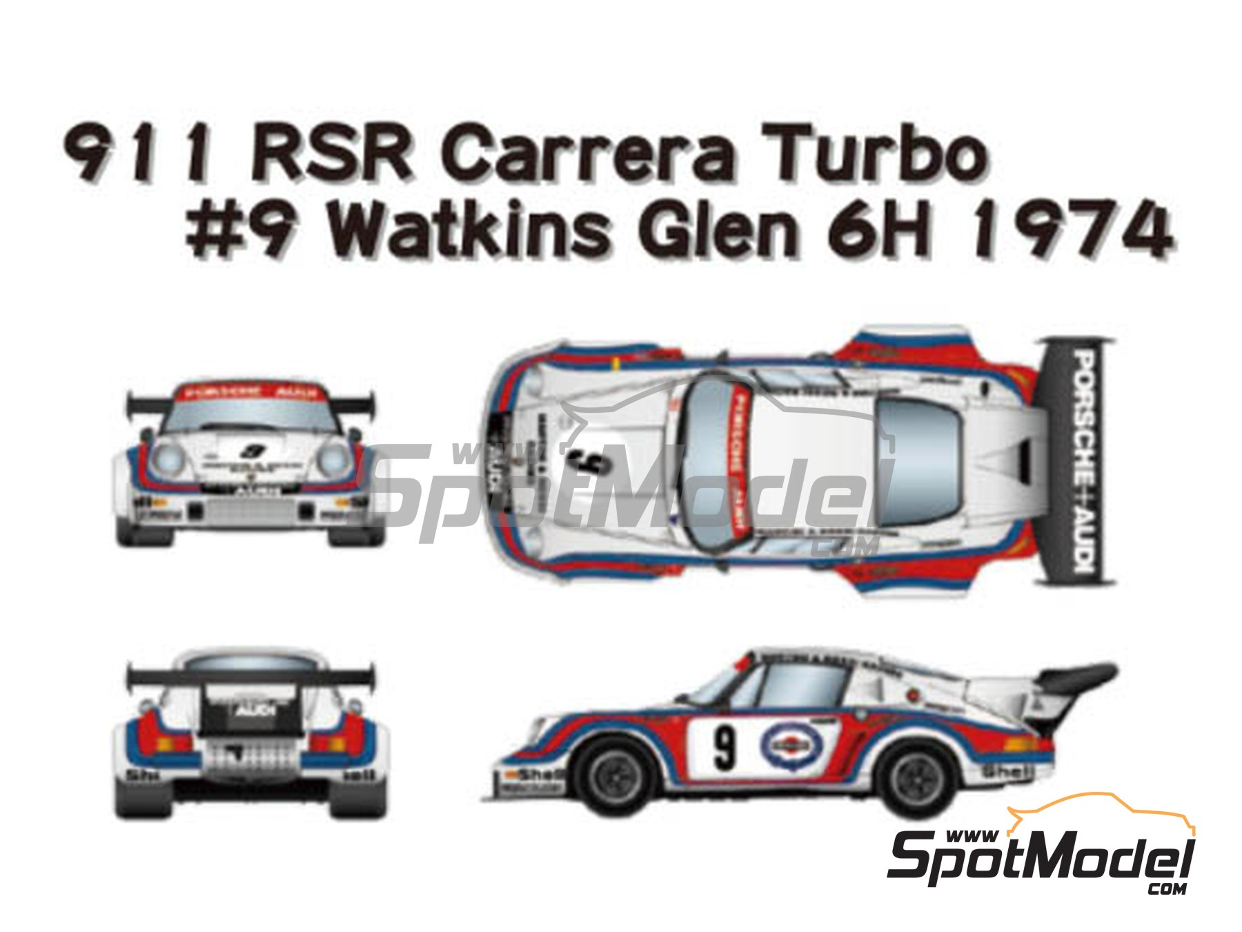 Image 1: Porsche 911 Carrera RSR Turbo Martini Rossi Porsche Audi - Watkins Glen 6 Hours 1974 | Marking / livery in 1/24 scale manufactured by Studio27 (ref. ST27-DC1205)