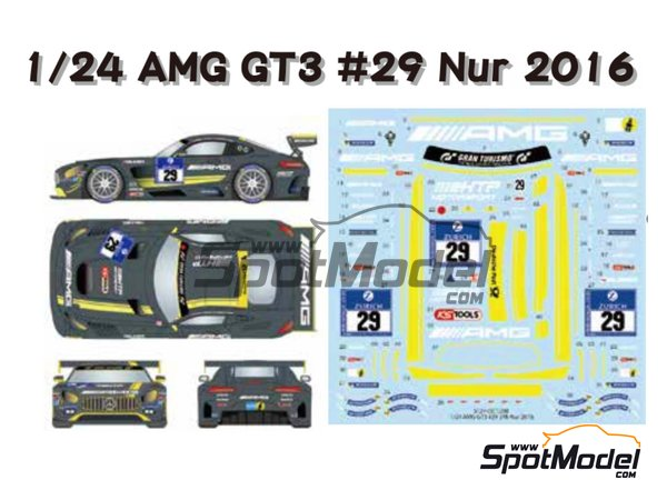 Image 1: Mercedes AMG GT3 HTP Motorsport - 24 Hours Nürburgring 2016 | Marking / livery in 1/24 scale manufactured by Studio27 (ref. ST27-DC1209)