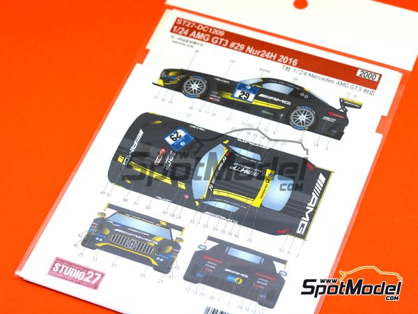 Image 3: Mercedes AMG GT3 HTP Motorsport - 24 Hours Nürburgring 2016 | Marking / livery in 1/24 scale manufactured by Studio27 (ref. ST27-DC1209)