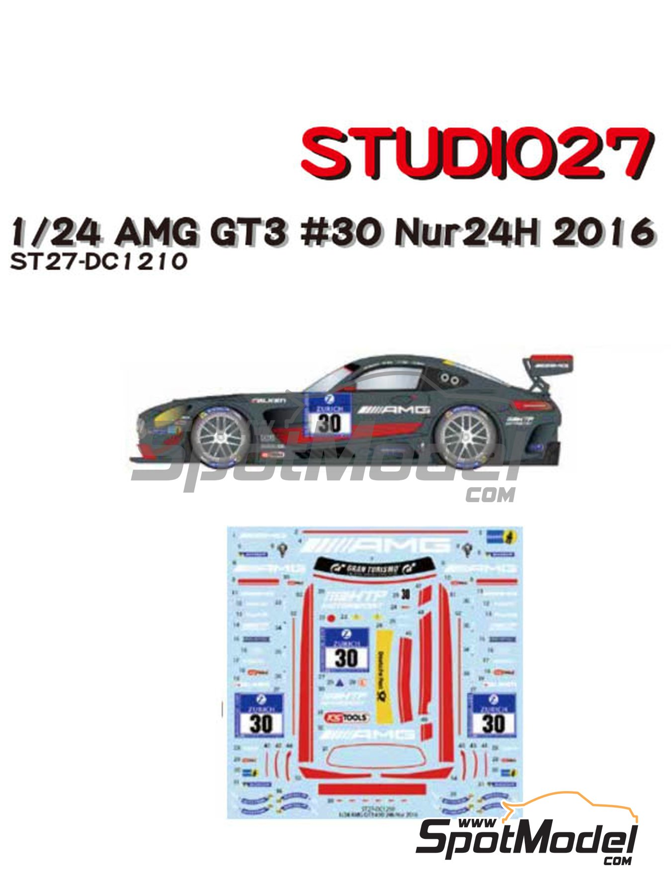 Mercedes Benz AMG GT3 AMG-Team HTP Motorsport - 24 Hours Nürburgring 2016 | Marking / livery in 1/24 scale manufactured by Studio27 (ref. ST27-DC1210) image