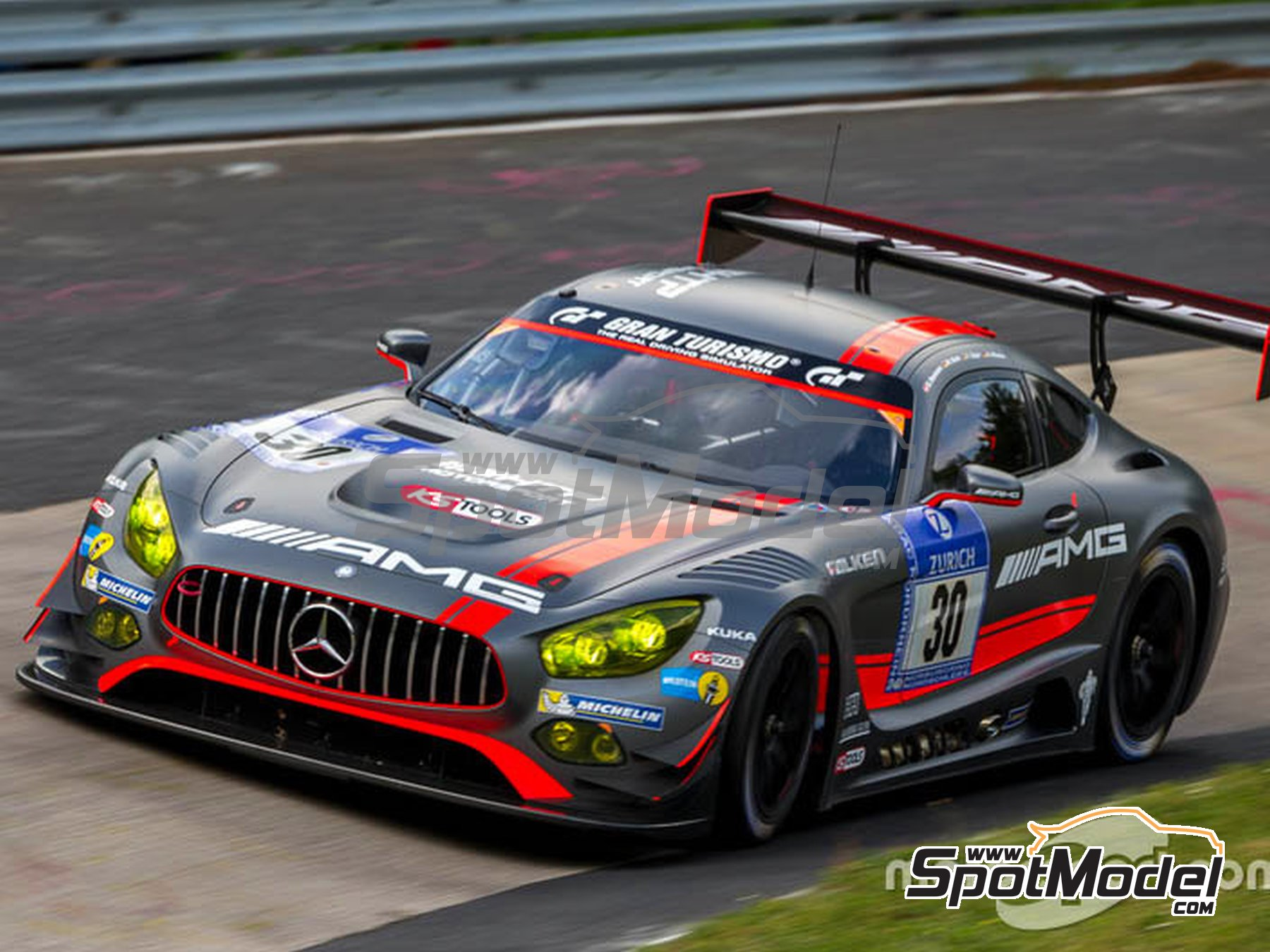 Image 2: Mercedes Benz AMG GT3 AMG-Team HTP Motorsport - 24 Hours Nürburgring 2016 | Marking / livery in 1/24 scale manufactured by Studio27 (ref. ST27-DC1210)