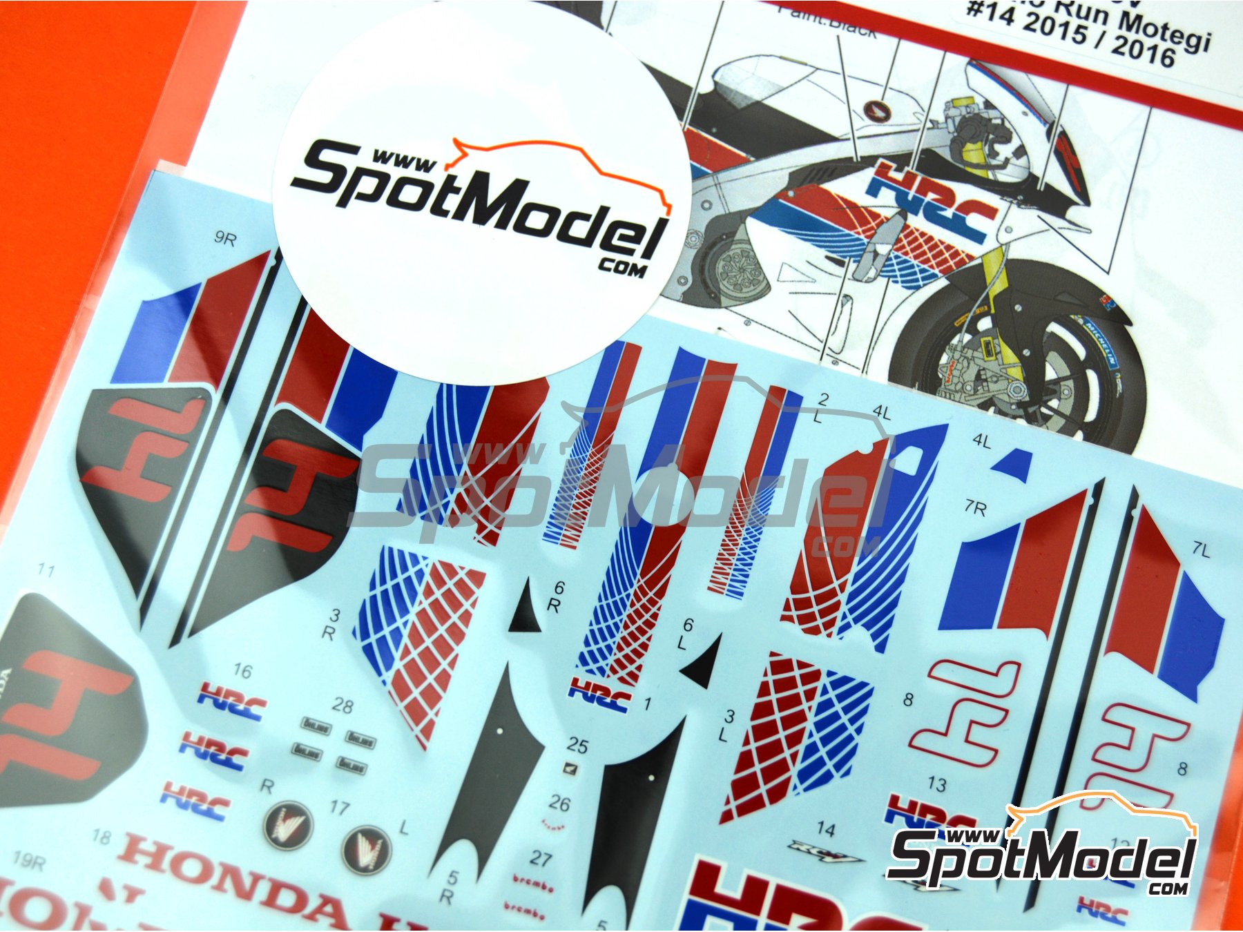 Image 3: Honda RC213V HRC - Honda Racing Thanks Day Motegi 2015 y 2016 | Decoración en escala 1/12 fabricado por Studio27 (ref. ST27-DC1211)