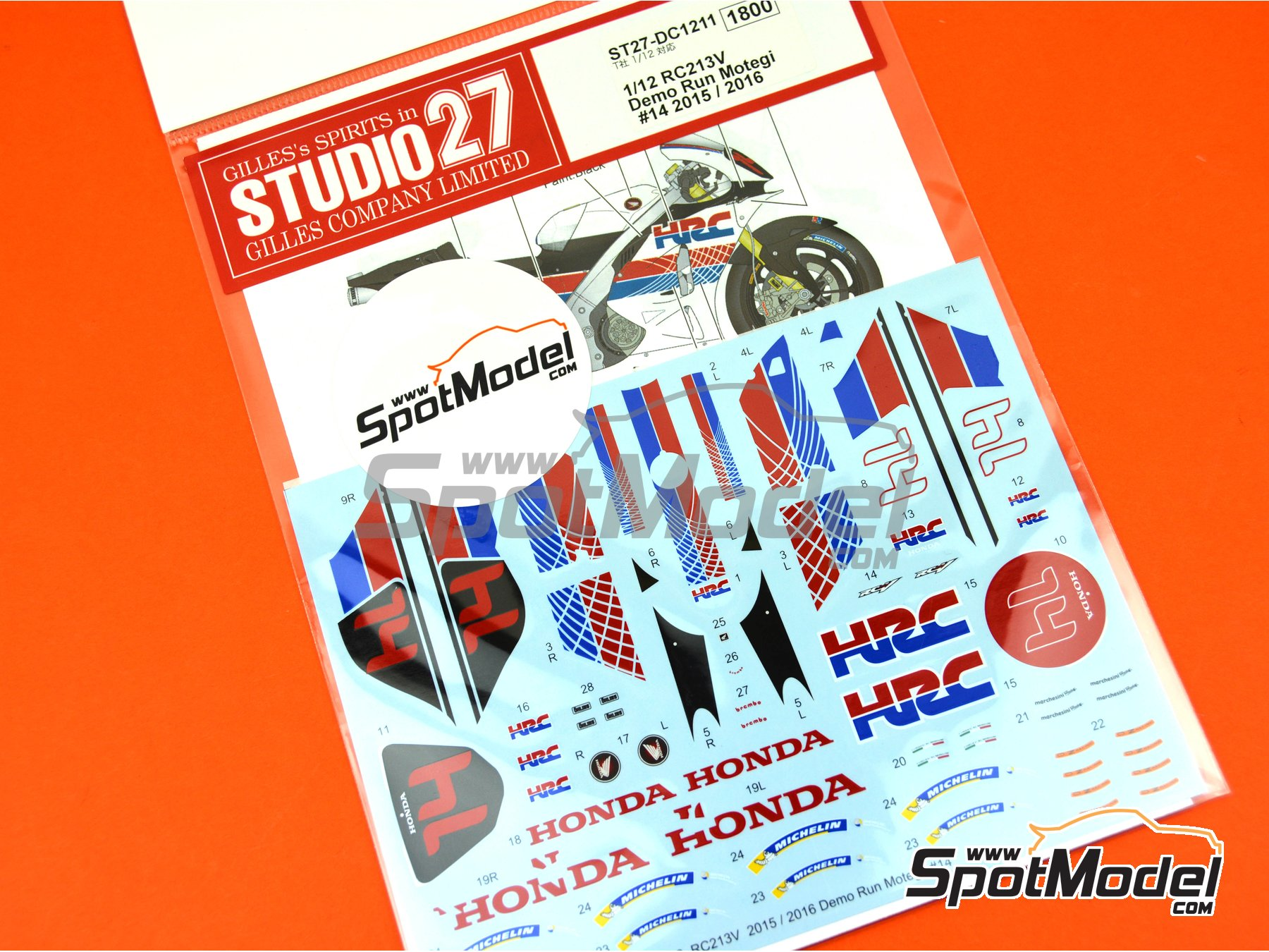 Image 5: Honda RC213V HRC - Honda Racing Thanks Day Motegi 2015 y 2016 | Decoración en escala 1/12 fabricado por Studio27 (ref. ST27-DC1211)