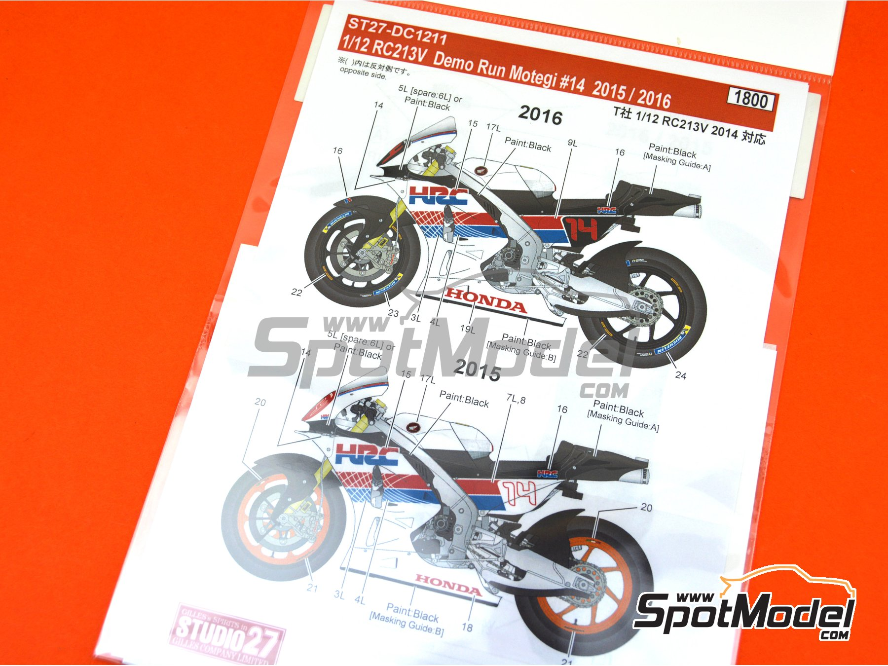 Image 6: Honda RC213V HRC - Honda Racing Thanks Day Motegi 2015 y 2016 | Decoración en escala 1/12 fabricado por Studio27 (ref. ST27-DC1211)