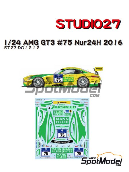 Mercedes Benz AMG GT3 HTP Motorsport Mann Filter - 24 Hours Nürburgring 2016 | Marking / livery in 1/24 scale manufactured by Studio27 (ref. ST27-DC1212) image