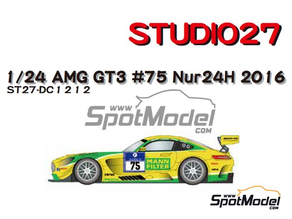 Image 1: Mercedes Benz AMG GT3 HTP Motorsport Mann Filter - 24 Hours Nürburgring 2016 | Marking / livery in 1/24 scale manufactured by Studio27 (ref. ST27-DC1212)