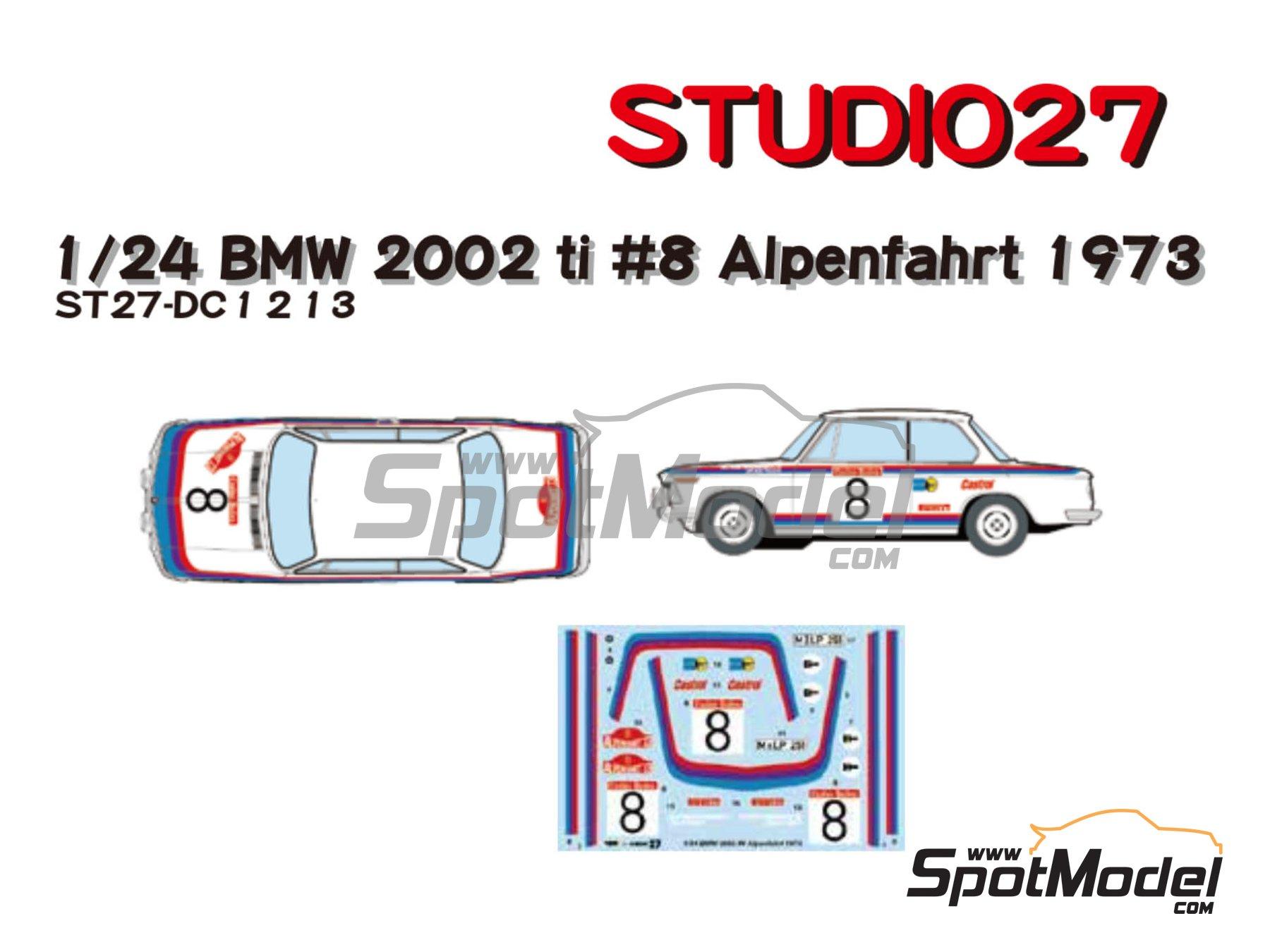 Image 1: BMW 2002 tii Castrol - Österreichische Alpenfahrt 1973 | Marking / livery in 1/24 scale manufactured by Studio27 (ref.ST27-DC1213)