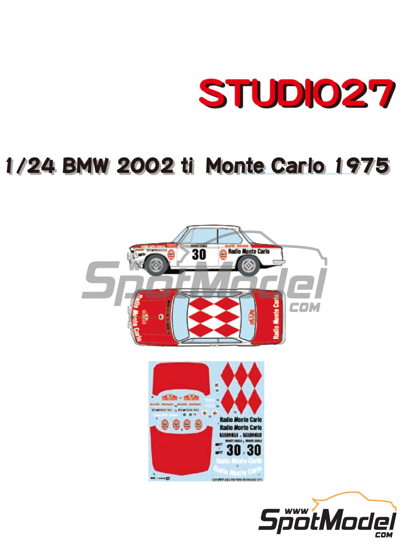 BMW 2002 tii Radio Monte Carlo - Montecarlo Rally 1975 | Marking / livery in 1/24 scale manufactured by Studio27 (ref. ST27-DC1214) image