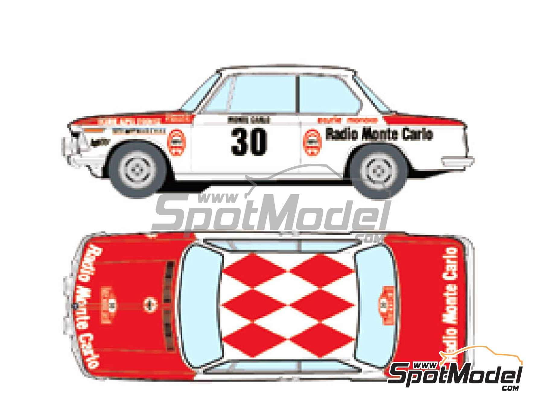 Image 1: BMW 2002 tii Radio Monte Carlo - Montecarlo Rally 1975 | Marking / livery in 1/24 scale manufactured by Studio27 (ref. ST27-DC1214)