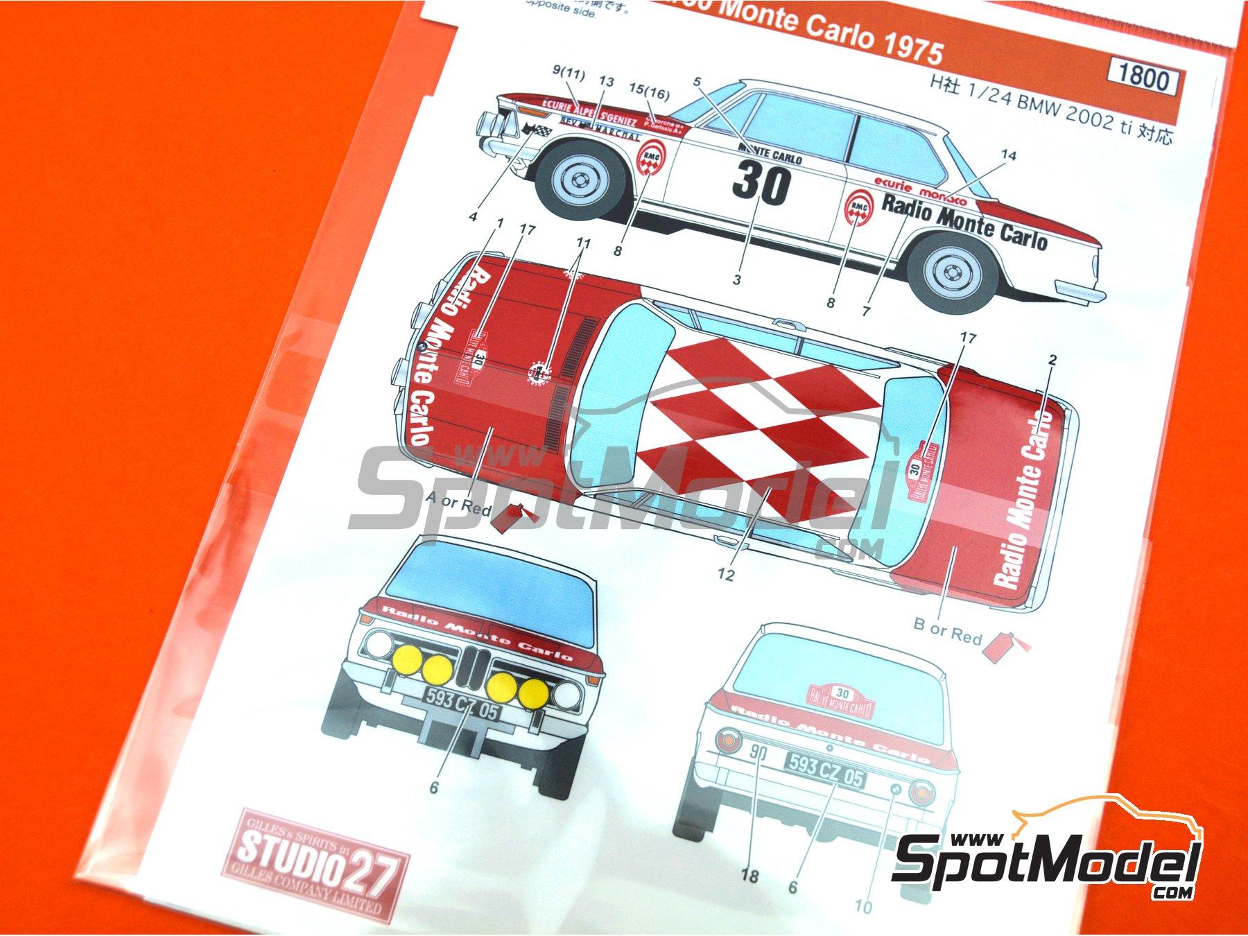 Image 7: BMW 2002 tii Radio Monte Carlo - Ecurie Alpes S'Geniez - Rally de Montecarlo - Rallye Automobile de Monte-Carlo 1975 | Decoración en escala1/24 fabricado por Studio27 (ref.ST27-DC1214)