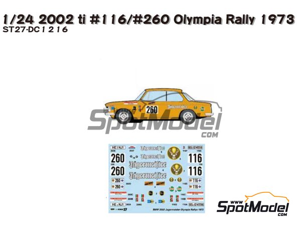 Image 1: BMW 2002 tii RSC Wolfenbüttel - Olympia Rally 1973 | Decoración en escala1/24 fabricado por Studio27 (ref.ST27-DC1216)