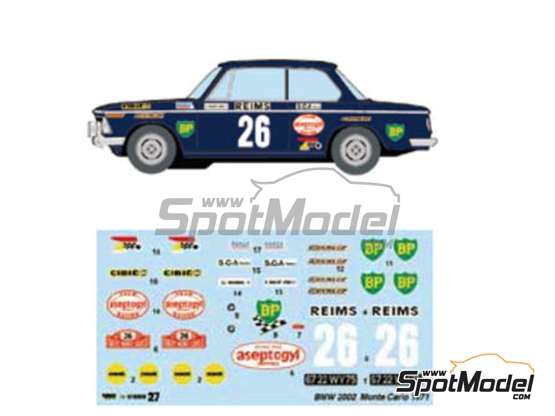 Image 1: BMW 2002 tii BP Aseptogyl - Montecarlo Rally - Rallye Automobile de Monte-Carlo 1971 | Marking / livery in 1/24 scale manufactured by Studio27 (ref. ST27-DC1217)
