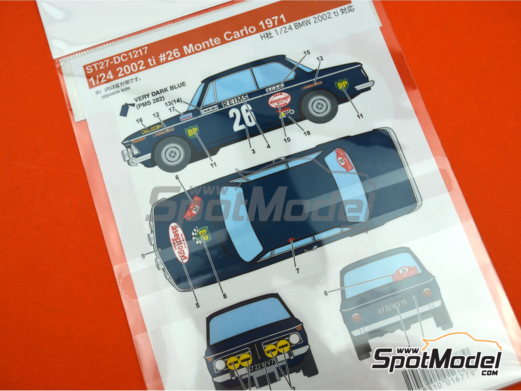 Image 4: BMW 2002 tii BP Aseptogyl - Montecarlo Rally - Rallye Automobile de Monte-Carlo 1971 | Marking / livery in 1/24 scale manufactured by Studio27 (ref. ST27-DC1217)