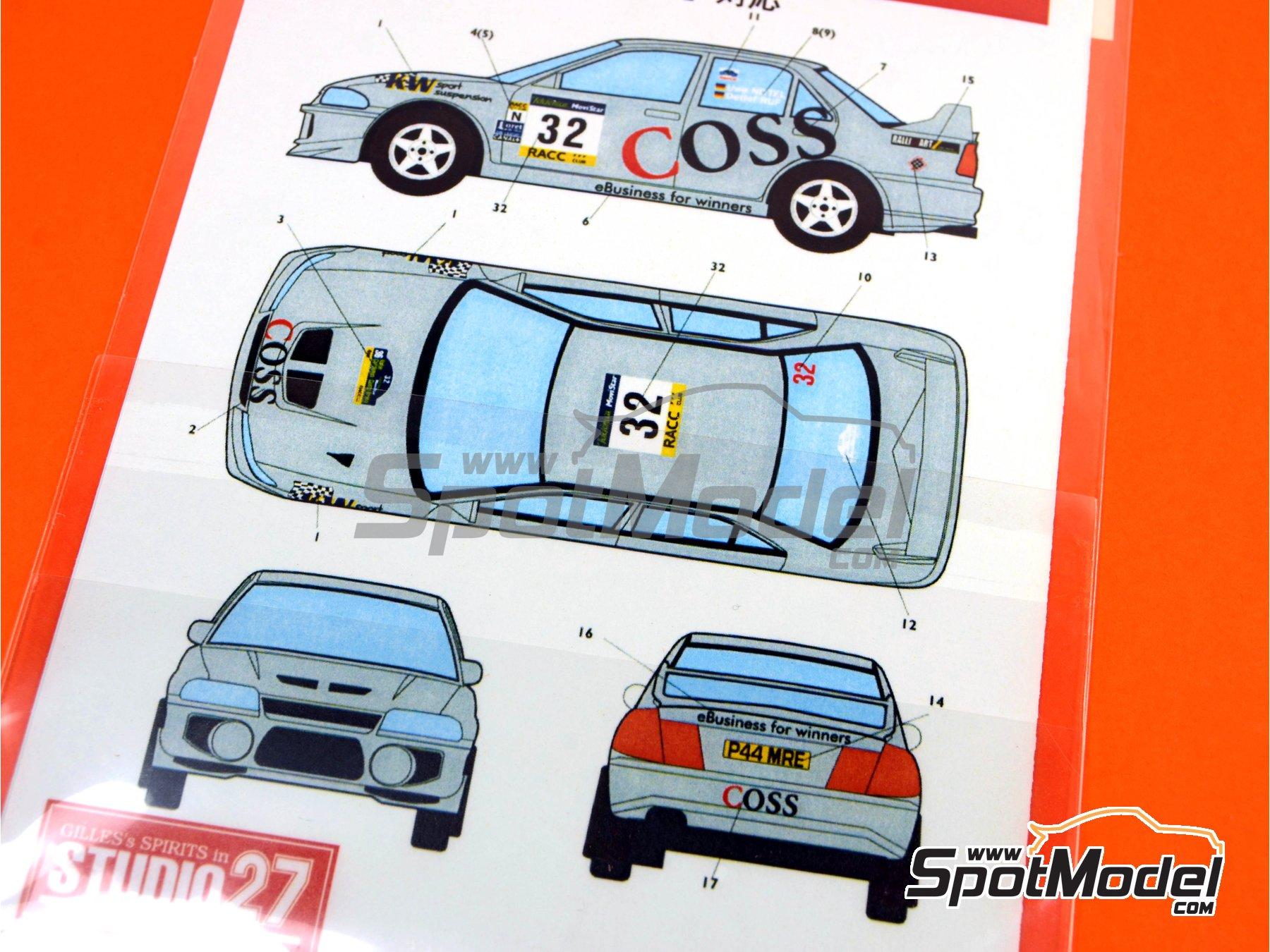 Image 2: Mitsubishi Lancer Evo VI WRC Coss - Rally de Cataluña Costa Dorada RACC 2000 | Calcas de agua en escala1/24 fabricado por Studio27 (ref.ST27-DC342)