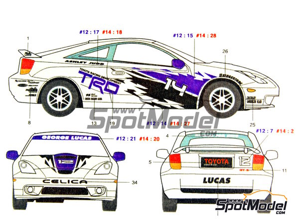 Image 1: Toyota New Celica GT-S TRD - USA West Long Beach Formula 1 Grand Prix 2000   Marking / livery in 1/24 scale manufactured by Studio27 (ref.ST27-DC352)